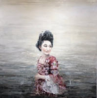 Christine in the Water I Oil and Cold Wax on Panel 40 x 40 $4800.