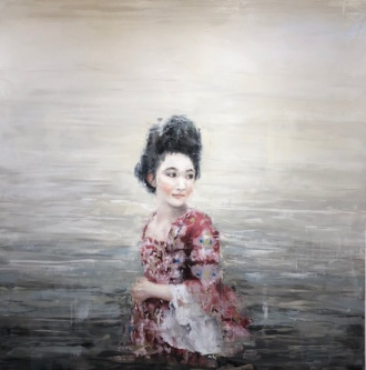 James Doherty |   Christine in the Water  II |   Oil and cold wax on panel |   40 x 40 |   $4,800.