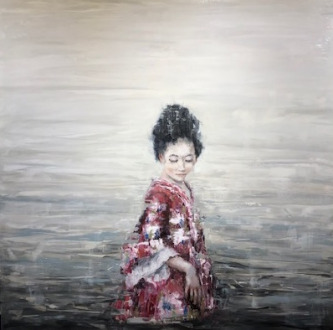 James Doherty |   Christine in the Water  I |   Oil and cold wax on panel |   40 x 40 |   $4,800.