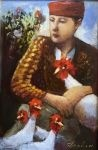 James Feehan SPRING CHICKEN Oil and wax 9  x 6 $850.
