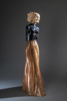 Jane Jaskevich |  Victoria |  Persian Yellow Travertine, Portoro Marble, Cypress |  24.5 x 9 x 11 |  $3,400.