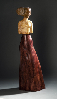Jane Jaskevich |  Charity |  Henna, Limestone, Persian Gold Travertine, Cypress |  29 x 10 x 6 |  $3,600.
