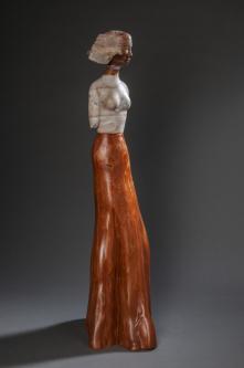 Jane Jaskevich |  Helena |  Desert Alabaster, Honey Onyx, Cypress |  32  x 9 x 11 |  $3,800.  | SOLD