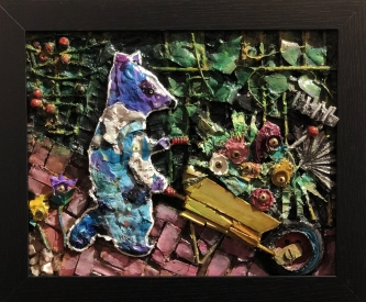Judith Hummel |  Purple Bear, 2020 |  Mixed-media |  8 x 10 |  $190.