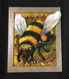 Judith Hummel  Bee  Mixed-media   10 x 8  $150.