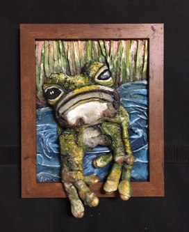 Judith Hummel  Grumpy Frog  Mixed-media   10 x 8  $150.
