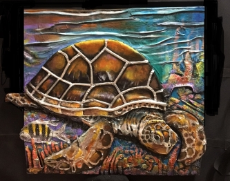 Judith Hummel  Sea Turtle  Mixed-media   25 x 27  $900.