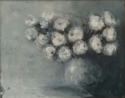 Mary Holton | White Roses | Oil | 24 x 30| Sold