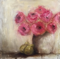 Mary Holton | Roses and Pears | Oil on Canvas | 20 x 20 | Sold