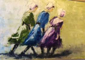 Mary Holton | Amish Girls | Oil on Canvas | 36 x 24 | Inquire