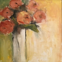 Mary Holton | First Roses | Oil on Canvas | 12 x 12 | Sold