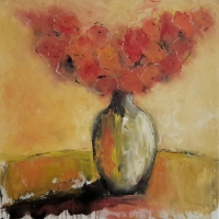 Mary Holton | Orange | Oil on Canvas | 24 x 24 | Sold   Framed