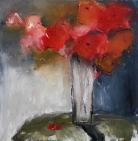 Mary Holton | Red | Oil on Canvas | 24 x 24 | Sold