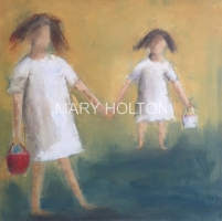 Mary Holton | Sandbuckets (siblings series) | Oil on Canvas | 20 x 20 | Sold