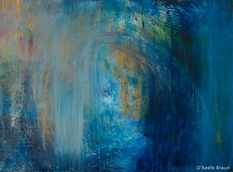 Sheila O'Keefe Braun |  #10  |  30 x 40 |  Acrylic Painted with fingers/palette knives reverse for story painting  |  $3,000.