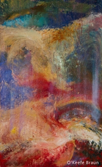 Sheila O'Keefe Braun |  #13  |  Acrylic Painted with fingers story painting |  48 x 30 |  $3,600.