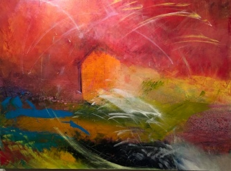 Sheila O'Keefe Braun |  B10 |  Acrylic painted with fingers/knives |  30 x 40 |  $3000.