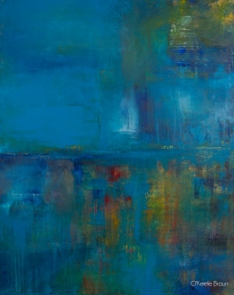 Sheila O'Keefe Braun |  #84 - Tallit |  Acrylic painted with fingers /palette knives |  60 x 48 |  $5,000.