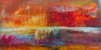 Sheila O'Keefe Braun |  #35 - Red Barn |  Acrylic- fingers/knives |  15 x 30 |  $1,300.