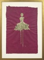 René  Romero Schuler |  Miranda, 2018 |  18k gold leaf on hand-made Nepali lokta paper |  30 x 20 38 x 28 framed |  $1,500. | SOLD