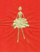 René Romero Schuler |  Iggy, 2019 |  18k gold leaf on hand-made Nepali lokta paper |  11 x 8.5 15 x 12.5 framed  |  $475. | SOLD