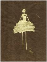 René  Romero Schuler |  Maria, 2018 |  18k gold leaf on hand-made Nepali lokta paper |  11 x 8.5 16.25 x 16.25 framed |  $475. | SOLD