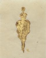 René  Romero Schuler |  Jeval, 2019 |  24k gold leaf on hand-made Nepali lokta paper |  11 x 8.5 unframed |  $325. | SOLD
