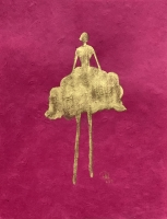 René  Romero Schuler |  Rosa, 2019 |  24k gold leaf on hand-made Nepali lokta paper |  11 x 8.5 unframed |  $425.