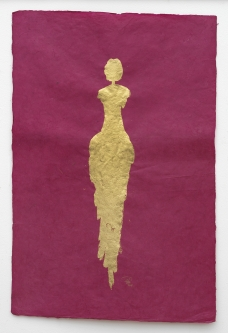 René  Romero Schuler |  Sendara, 2018 |  18k gold leaf on hand-made Nepali lokta paper |  30 x 20 38 x 28 framed |  $1,500. | SOLD