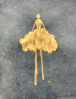 René Romero Schuler |  Lauren, 2019 |  24k gold leaf on hand-made Nepali lokta paper |  11 x 8.5 15 x 12.5 framed |  $475. | SOLD