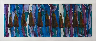 Rene' Romero Schuler |  Connected |  India ink on arches paper |  16 x 43.5 23.5 x 51 f |  $4,800.