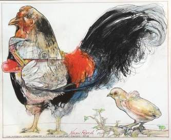 Robert A. Nelson     Imperial Chick, 2018    Collage- Pencil, Colored Pencil, Watermedia    14 x 17   framed    $1,500.