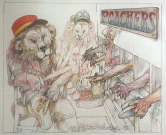 Robert A. Nelson     Lion Prison, 2020    Pencil, colored pencil, aquamedia    14 x 17    $1,500.