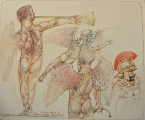 Robert A. Nelson  |  Studies for Gabriel (Icarus) Waiting for a Second Wing , 2016 |  Pencil, Colored Pencil, Watermedia |  14 x 17  | unframed |  $1,200.
