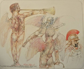 Robert A. Nelson     Studies for Gabriel (Icarus) Waiting for a Second Wing , 2016    Pencil, Colored Pencil, Watermedia    14 x 17    unframed    $1,200.
