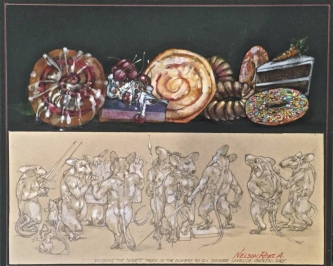 Robert A. Nelson     Dividing the Sweets After a Major Raid, 2015    Collage- Pencil, Colored Pencil, Watermedia     14 x 17    framed    $1,500.