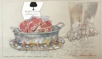 Robert A. Nelson    Large Animal Supper Menu, 2020    Collage: Pencil, colored pencil, aqua media    11 x 19    $1,500.