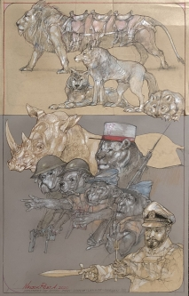 Robert A. Nelson    Members of Animal Army, 2020    Collage: Pencil, colored pencil, aqua media    23.5 x 15    $2,500.