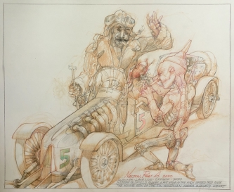 Robert A. Nelson |   Barney Oldfield Pit Stop, 2020 |  Pencil, colored pencil, aqua-media |  14 x 17 |  $1,000.
