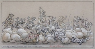 Robert A. Nelson  |  Running the Eggs, 2016 |  Pencil, colored pencil |  14 x 17  | framed |  $1,350.