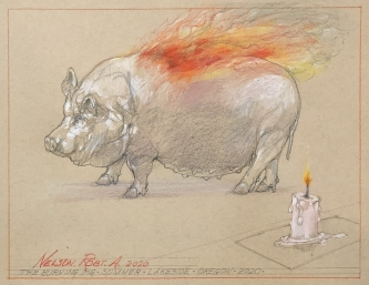Robert A. Nelson |  The Burning Pig, 2020 |  Pencil, colored pencil |  9 x 12 |  $800.