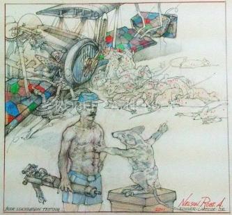 Robert A. Nelson  |  Poor Machine Gun Testing, 2011 |  Pencil, colored pencil, aqua-media |  11 X 11 |  $800.
