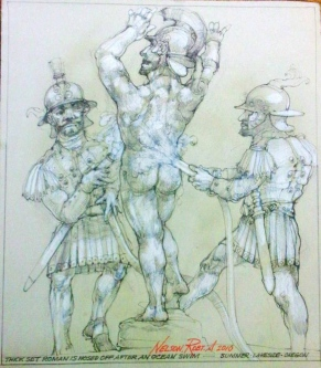 Robert A. Nelson |    Thick-Set Roman is Washed Off After an Ocean Swim, 2010 |   Pencil, color ed pencil, watermedia |    12 x 10 |    $850.