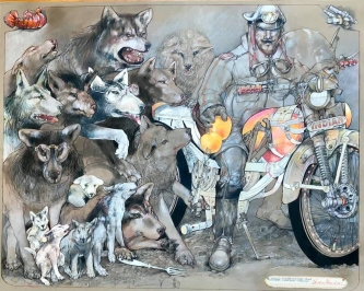 Robert A. Nelson |  Wolf:Biker Winter Truce, 2019 |  Collage- pencil, colored pencil, aquamedia |  32 x 40 |  $11,000.