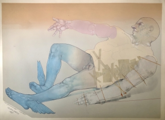 Robert A. Nelson |   Released from the Vault |  The Reclining Man, 1987  |  Monoprint, pencil |  27 1/2  x 37  |   $1,800.