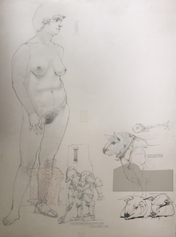 Robert A. Nelson |   Released from the Vault |  Richard III- Study, 1988 |  Pencil  |  30 x 22  |  $1,000.