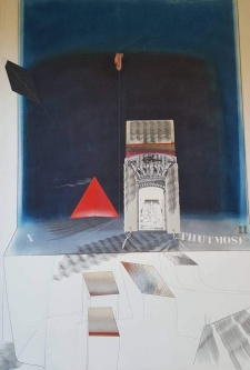 Robert A. Nelson  |  Tomb of Thutmose the 2nd, 1979 |  Released from the Vault Collage- Pastel, Pencil  |  40 x 29  |  $2,500.
