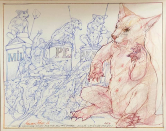 Robert A. Nelson  |  White Drawing Study for Pantry Wars, 2019 |  Pencil, colored pencil |  11 X 14 |  $600.