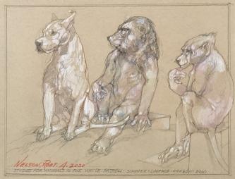 Robert A. Nelson |  White Patroll, 2020 |  Pencil, colored pencil |  9.25  x 12 |  $400.