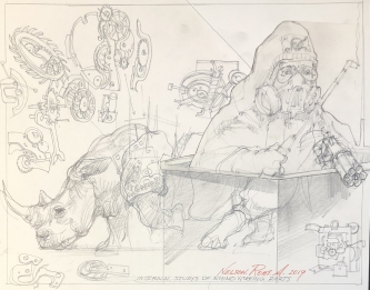 Robert A. Nelson |   Internal Study of Rhino Working Parts, 2019  |  Pencil |  11 x 14 |  $200.